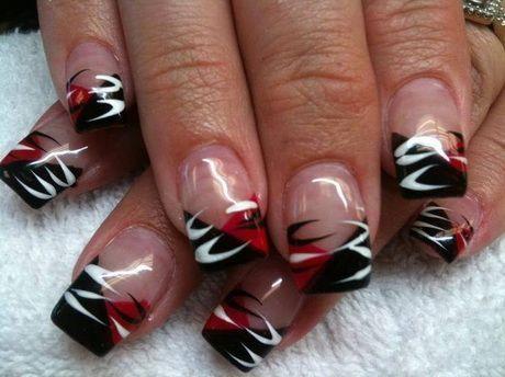 Gelnägel rot schwarz in 2020 | Halloween nail designs ...