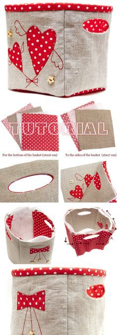Fabric Storage Basket Bag with Handles DIY Tutorial  http://www.handmadiya.com/2017/01/fabric-storage-basket.html