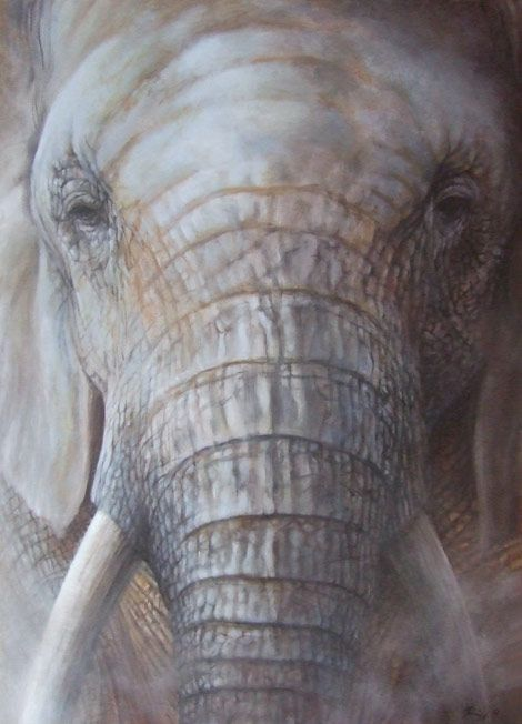 African dust - acrylic on canvas | Wildlife art by Roberto Rizzo | www.robertorizzo.com