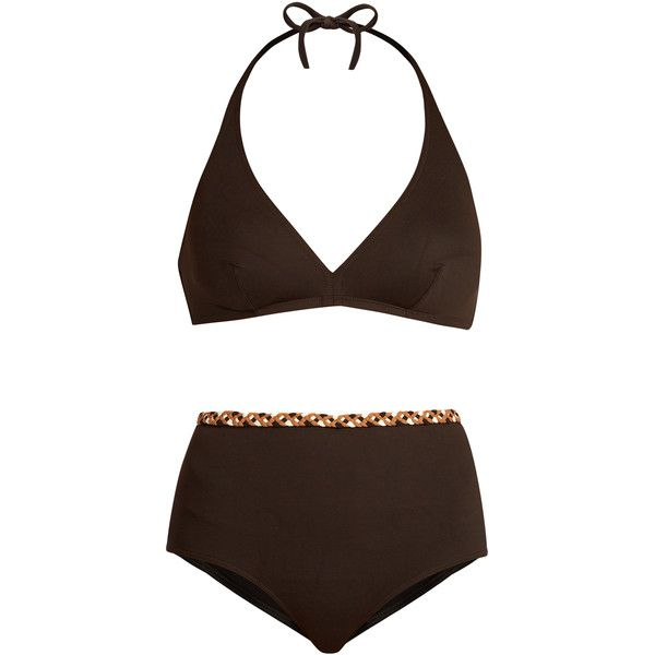 Eres X Veronique Leroy Gang and Sonia bikini (950 TND) ❤ liked on Polyvore featuring swimwear, bikinis, brown, halter-neck bikinis, high-waisted bikinis, halter top, halter bikini and brown halter top
