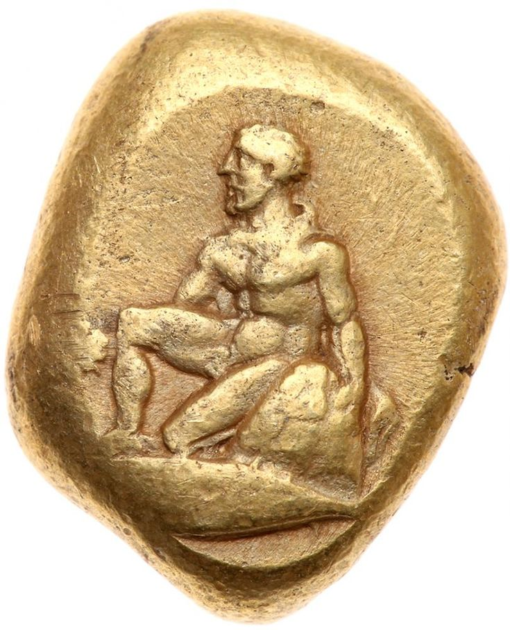 Mysia, Kyzikos. Electrum Stater (16.00 g), 5th-4th centuries BC Choice VF Orestes kneeling left, holding sword and resting on omphalos; below, tunny left. Quadripartite incuse square. Von Fritze 165; SNG BN -. Well centered on a full planchet. A very choice example and delicately toned. Estimated Value $6,000 - 8,000. #Coins #Gold #Ancient #MADonC