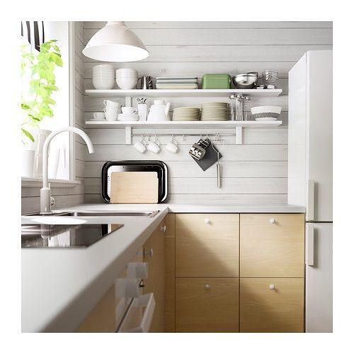 VÄRDE Wall Shelf With 5 Hooks, White