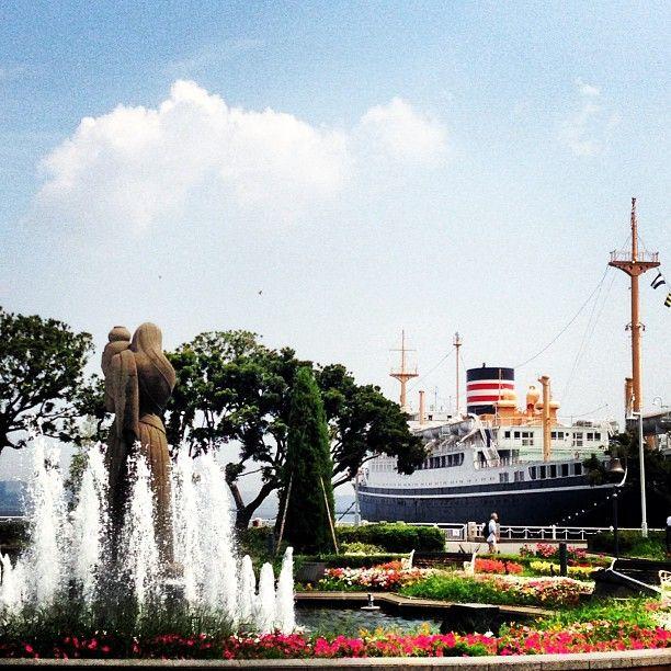 #山下公園 #横浜 #yokohama #氷川丸 #fountain #日本 #船 japan #風景写真 #みなとみらい