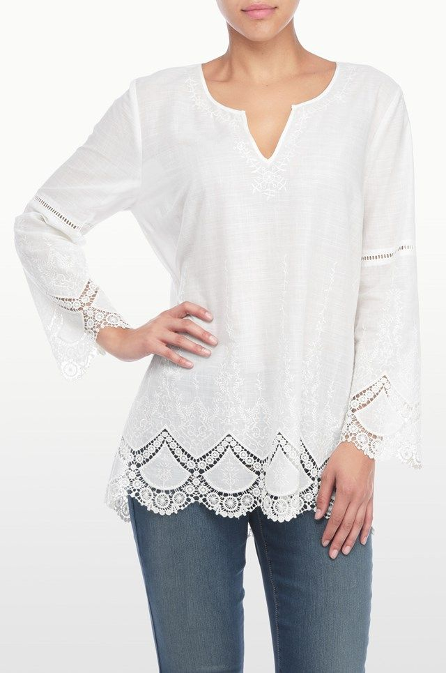 Embroidered Chambray Voile Top - Optic White
