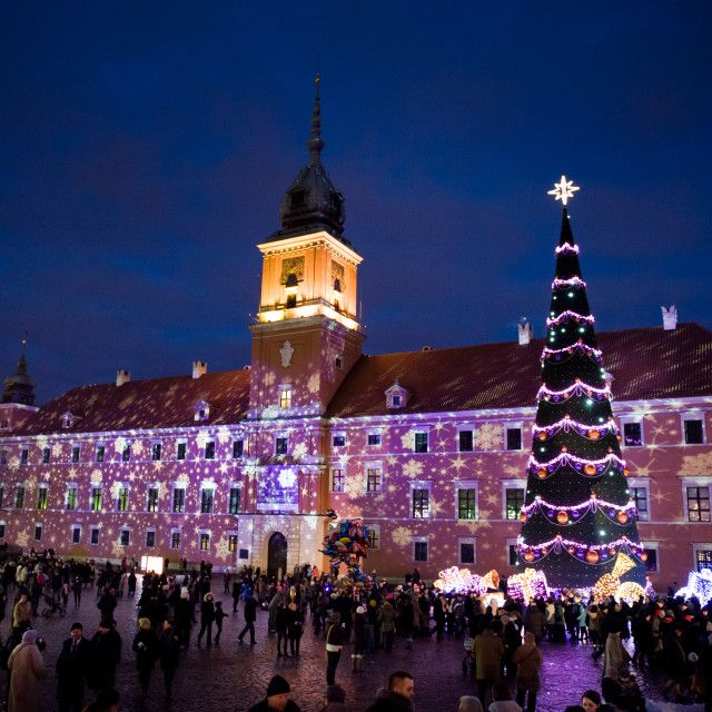 'Illuminated Christmas tree at Old Town' on Picfair.com. Zygmunt Square and Royal Castle in Warsaw, Poland. Seasonal attraction for Christmas. Night long exposure.