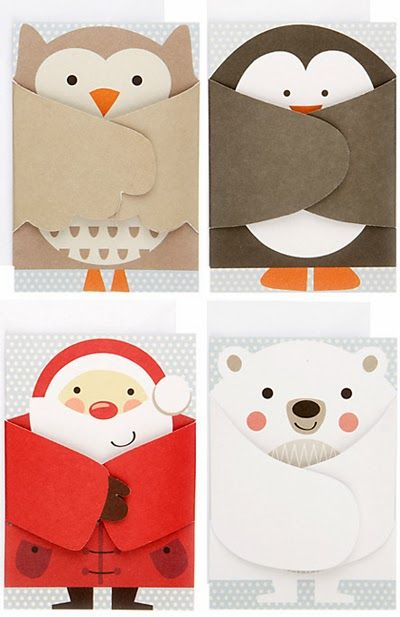 handmde shaped cards .. from john lewis ... basic gatefold turned into figures with folded arms ... cut paper designs ... fun and clever .. luv the owl and Santa cards ...