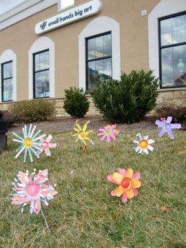 Please don't pick the flowers!  Upcycled can flowers.  Pretty. Great spring or Easter kid craft.