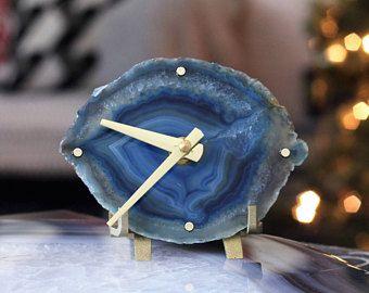 Agate Clock,Modern Blue Boho Agate Clock,Desk Clock,Modern Clock,Agate Desk Clock,Boho Decor,Clock,Gift for Her,Gift for Him,Agate Decor