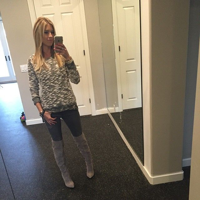 Christina El Moussa wearing a Monrow sweater and Kristin Cavallari boots