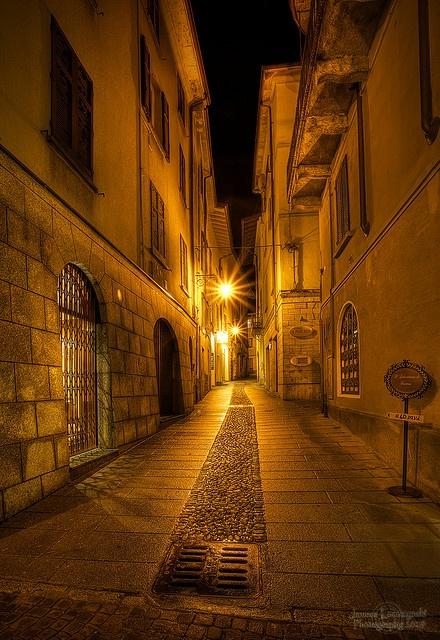Narrow streets of cobblestone, Arona in Piedmont, Italy
