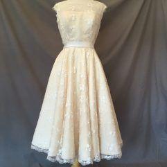 Audrey Lynn Vintage Bridal Pheobe Dress | Lace tea length wedding dress with cap sleeves
