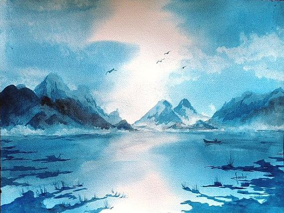 Original watercolor painting  Lake by magicsmudges on Etsy, $120.00