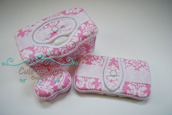 3 Pc Boutique Flip Top Baby Wipe Case and by CutenSassyCreations, $44.00