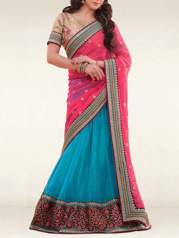 Be in the lime light in any occasion dressed in this lehenga style dark pink and sky blue georgette-chiffon designer lehenga style saree.