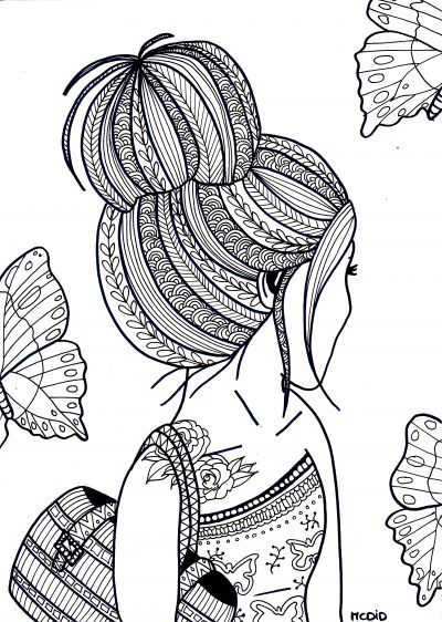 Free coloring page for adults. Girl with tattoo. Gratis