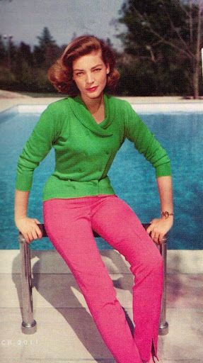 pink and green Lauren BacallGreen Tops, Actresses Lauren, Fashion Fade, Bacall 1955, Classic Beautiful, Late Icons, Pink Pantsjean, Lauren Bacall, Style Icons