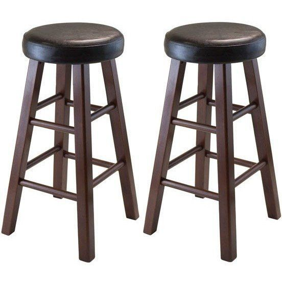 Winsome Round Counter Stool Pu Leather Seat Square Legs Bar Stools Round Bar Stools Winsome Wood
