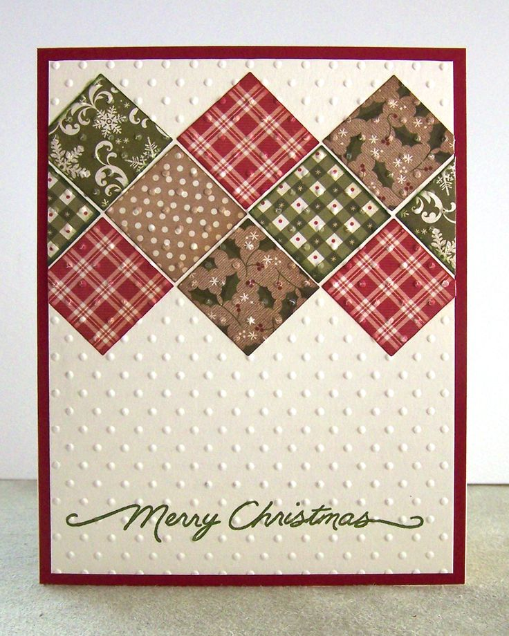 Place paper scrap inchies in a simple quilt pattern for a nice handmade Christmas card.  This one has been swiss-dotted, along with the cream card base for extra dimension.