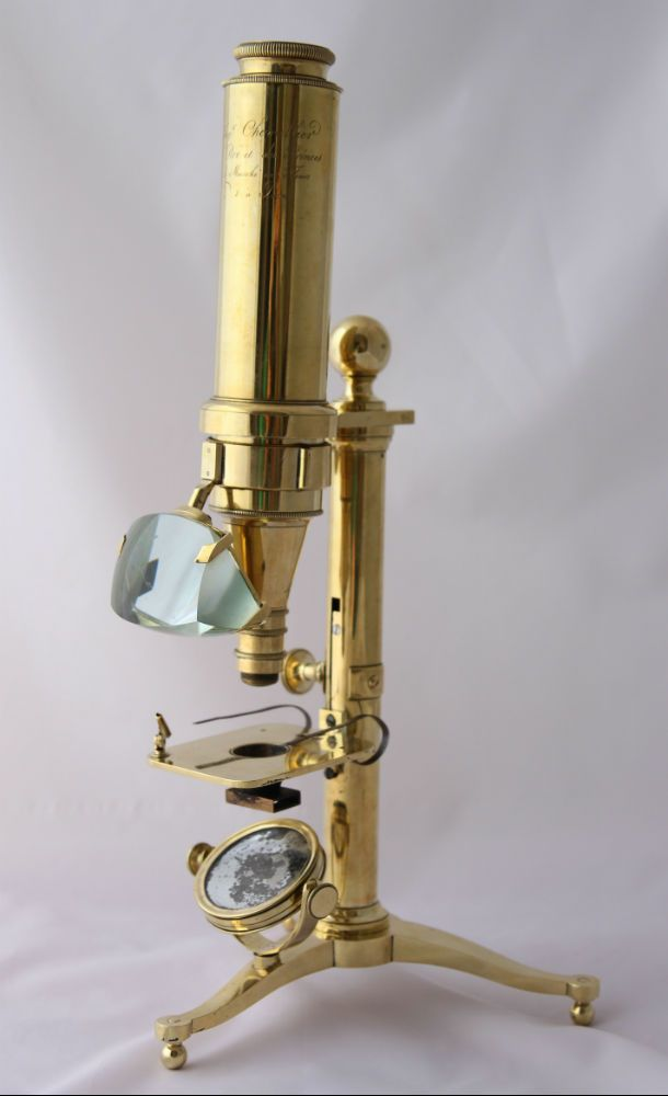 A Selligue microscope with an unique simplified form known by Chevallier - antique brass microscope