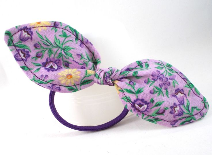 Purple and Yellow Floral Ponytail Holder Hair Tie Bow Simple Hair Bow  Ponytail Bow Cute Hair Accessories for Teens   Tweens Small Gift Ideas by. 295 best Cute Hair Accessories images on Pinterest   Hair
