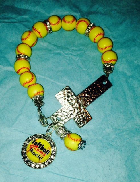 Softball Cross Bracelet by sassygirlsx3 on Etsy, $10.95