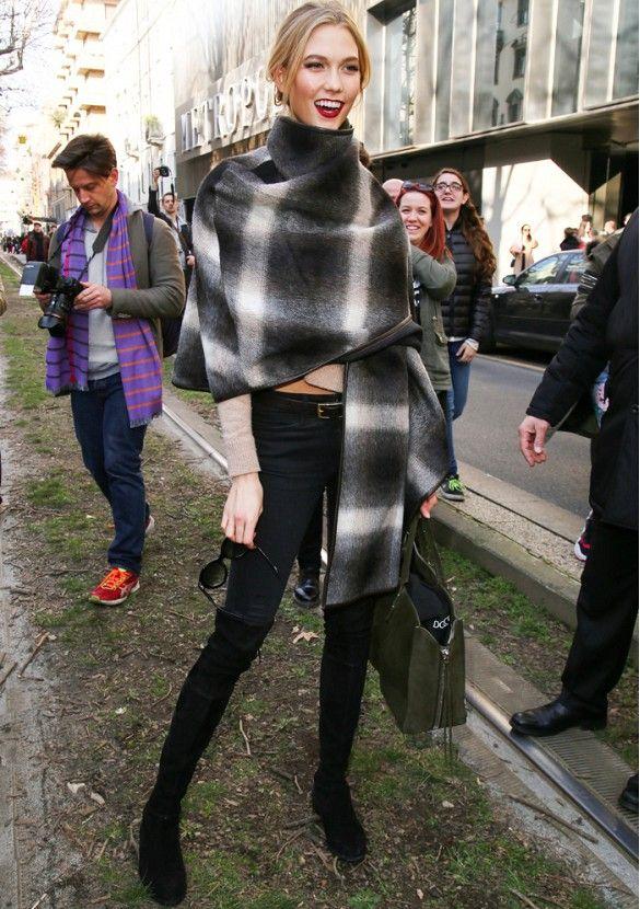 salvatore Ferragamo Alpaca Checked Poncho ($1267)Karlie Kloss Perfects Model-Off-Duty Chic via @WhoWhatWear