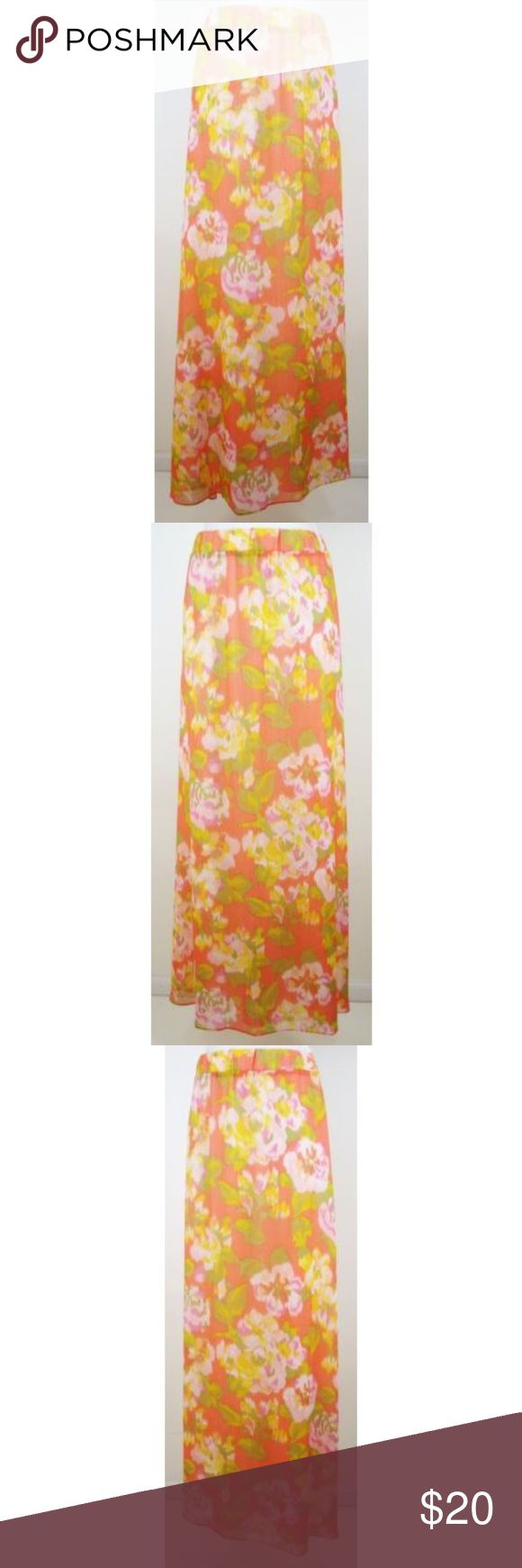 "Skirt Floral Printed Crinkle Modest Long XL 18 20 Isaac Mizrahi Live!  Excellent ""Gently Worn"" Condition: No rips, stains, tears or other signs of wear  Tagged as Size XL  Various shades of Orange, Pink, Yellow and Green  Waistband Measures 38"" - 42"" Hips Measure 54"" (approximately 6"" below waistband) Length Measures 39½"" (from top of waistband to back hem) Hem Measures 85"" (around garment at hem)  Wide band elasticized pull-on waistband  Shell: 100% Polyester Lining: 95% Polyester, 5%…"