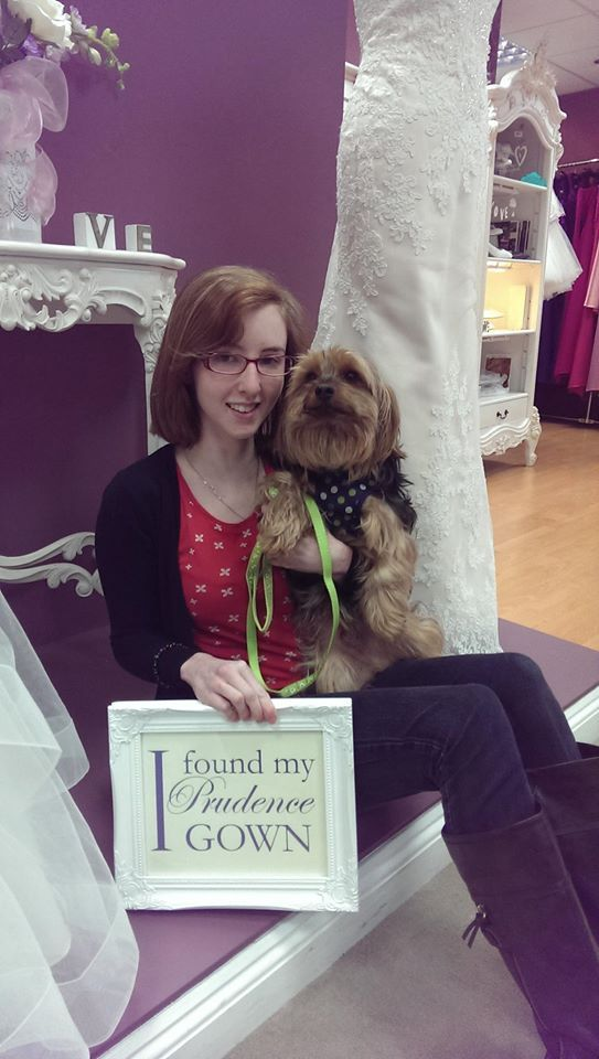 Our new #bride Carina found her #weddingdress in our #Plymouth store today. YAY! #DressingYourDreams #PrudenceGowns