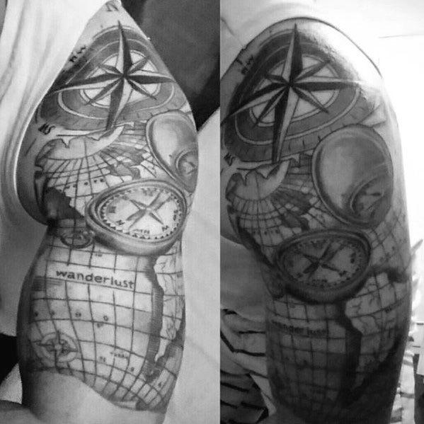 Tattoo Designs Pdf: Masculine Wanderlust Half Sleeve Guys Map Tattoos
