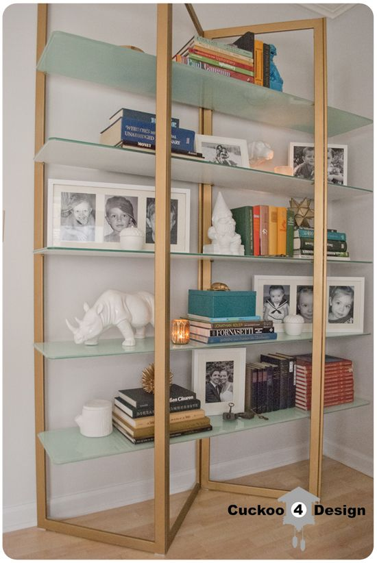Glass shelf Re-DoDecor Ideas, Brass Shelf, Glasses Shelves, Design Ideas, Glasses Bookself, Brass Bookshelf, Corner Shelves, Neat Bookcas, Bookshelf Makeovers