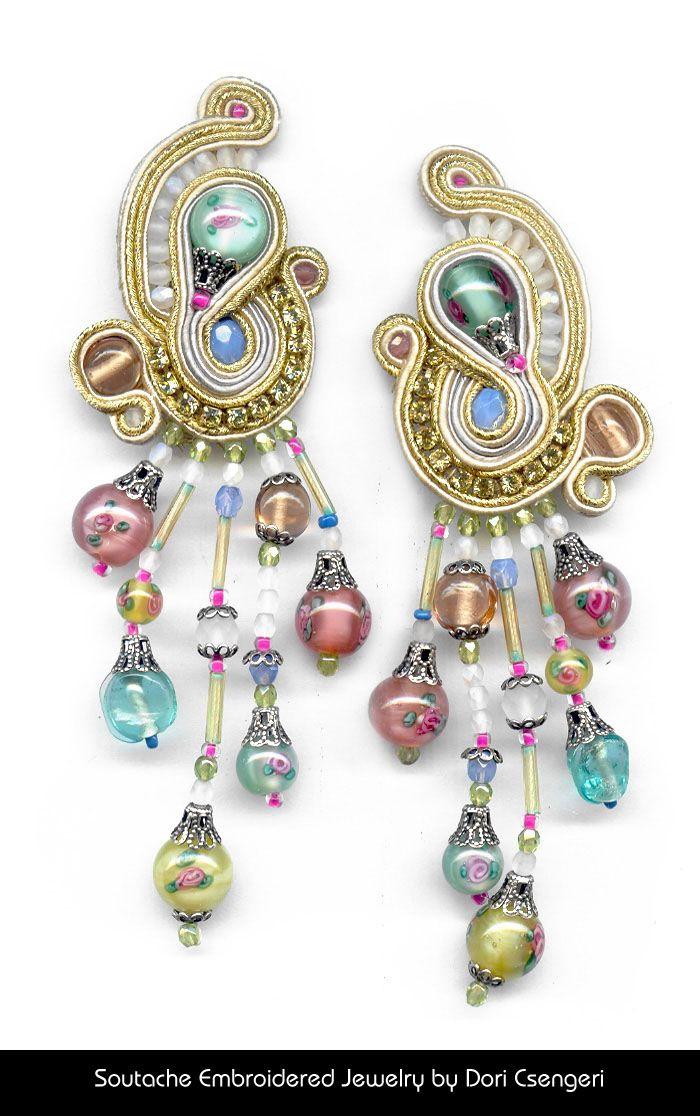 "Embroidery Reinvented – Soutache Jewelry :: Soutache Embroidered Jewelry by Dori Csengeri - ""Romantic"" http://doricsengeri.com/"