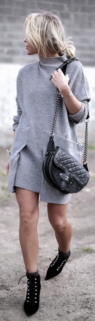This baggy grey dress goes perfectly with studded black boots! Via happilygrey