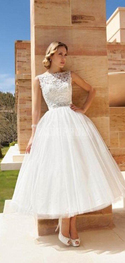 Bateau Neckline Tea Length V Back Lace Bodice Vintage Wedding Dress