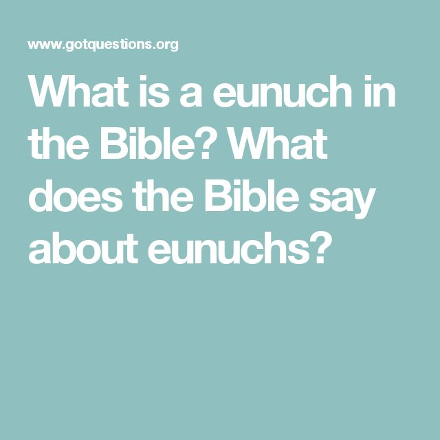 What is a eunuch in the Bible? What does the Bible say about eunuchs?