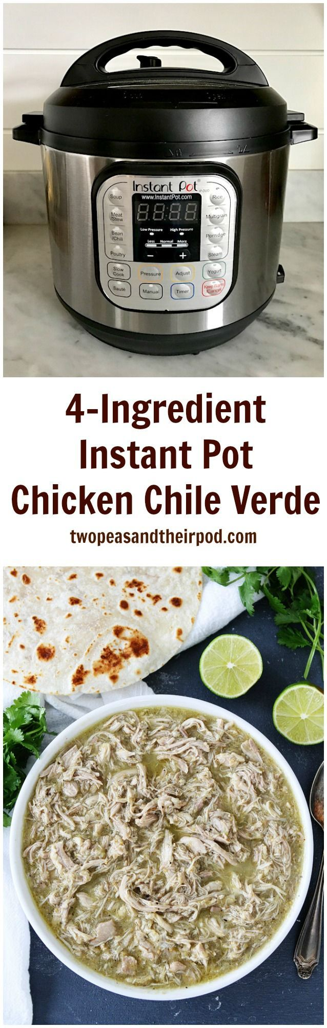4-Ingredient Instant Pot Chicken Chile Verde Recipe on http://twopeasandtheirpod.com This is the easiest Instant Pot recipe! You only need 5 ingredients and 25 minutes to make this delicious chicken. It is great with rice or you can make tacos, burritos, quesadillas, salads, etc! The perfect weeknight meal!