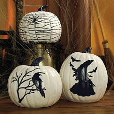 Anytime you use decorated pumpkins for Halloween, simply turn them around (hiding the spiders, witches, etc) and continue using them for fall decor.Vintage Halloween, Painting Pumpkin, Ceramics Pumpkin, Black And White, Halloween Pumpkin, Black White, Martha Stewart, White Pumpkins, Pumpkin Design