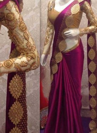 Magenta Pink Embroidery Cut Work Satin Georgette Designer Party Wear Sarees http://www.angelnx.com/Sarees/Designer-Sarees