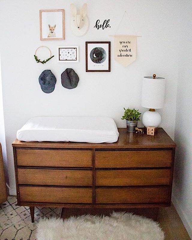 Nursery Inspo  Nursery Hacks  // I love this drawer unit...who needs an ugly baby changing table when you can use this beauty!    #mooandboo #nursery #inspo #changing #decor #home #interior #baby #love