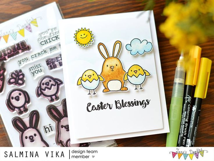 Hello!     Today I'm sharing Vika's ADORABLE card using Spring , Rain or Shine  and Suzi's Easter .         xo