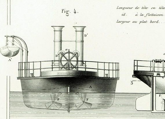 AUTHENTIC 1800s XL engraving Industrial design - Industrial Patent Print - Marine engineering Wall Art - Technical drawing - Steamship - Paddle Steamer- Paddle Wheels.  Ori... #armengaud #spits #peniche