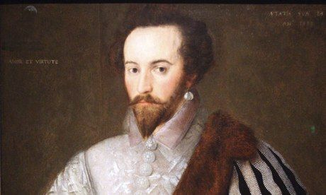 Sir Walter Raleigh's crescent moon compliment to Elizabeth I revealed; the moon above waves in corner of portrait – symbolizing queen's power over courtier: http://www.theguardian.com/artanddesign/2013/oct/09/sir-walter-raleigh-crescent-moon-elizabeth-i  IMAGE: The portrait of Sir Walter Raleigh with the newly discovered crescent moon just visible in the top left corner.