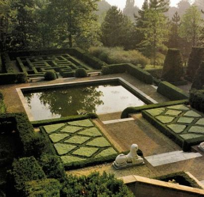The garden at Villa Silvio Pellico in Moncalieri, Italy designed by 20th century English garden designer, Russell Page