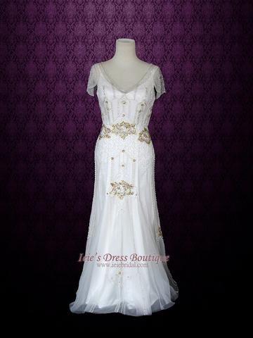 Glamorous Retro 1920's Style Wedding Dress with Sleeves | Anabel