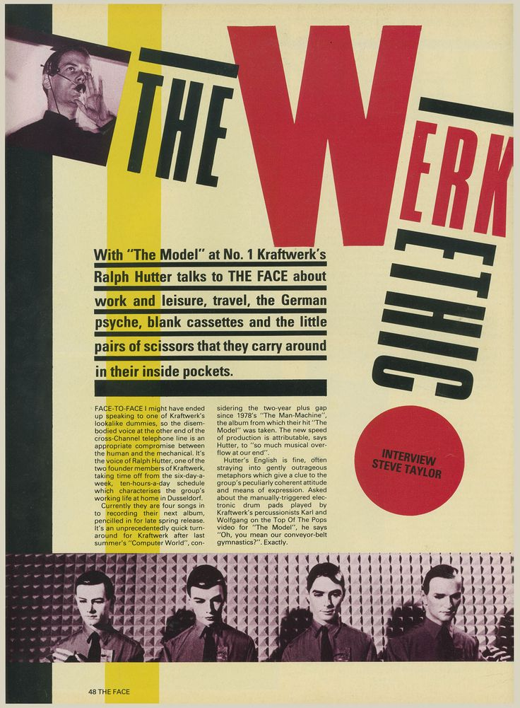 Kraftwerk, The Face, March, 1982, Ralph Hutter, Interview
