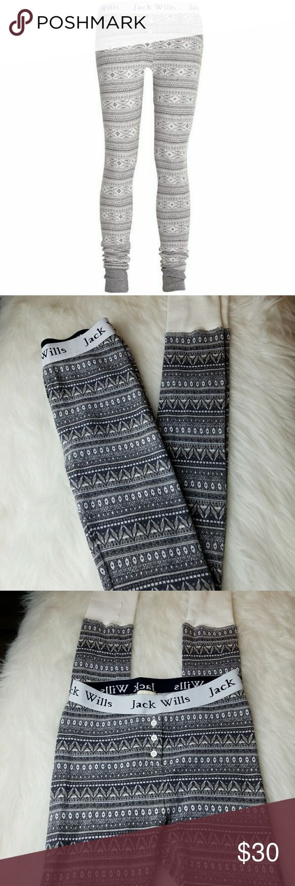 "JACK WILLS Nordic Print Knit Leggings JACK WILLS Nordic Print leggings in soft fine gauge sweater knit with elastic waistband / ankle cuffs and button fly accent; Cotton / Spandex knit; Great for lounging or with boots and a sweater! 12"" waist measured flat 9"" Rise 31"" inseam; Excellent condition! Jack Wills Pants Leggings"