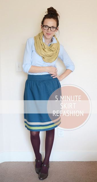 Merrick's Art // Style + Sewing for the Everyday Girl: 5 Minute Skirt Refashion (Tutorial)