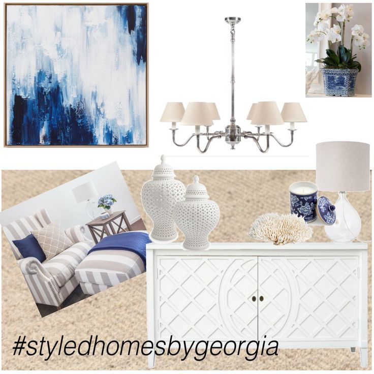 HAMPTONS Concept - sent this moodboard to our clients who wanted the Hamptons look for their living room #styledhomesbygeorgia #moodboard #interiors #design #propertystylist #melbournestylist #interiordecorator #uistylistscout #hamptons #livingroom #blueandwhite #classicstyle #classic #style