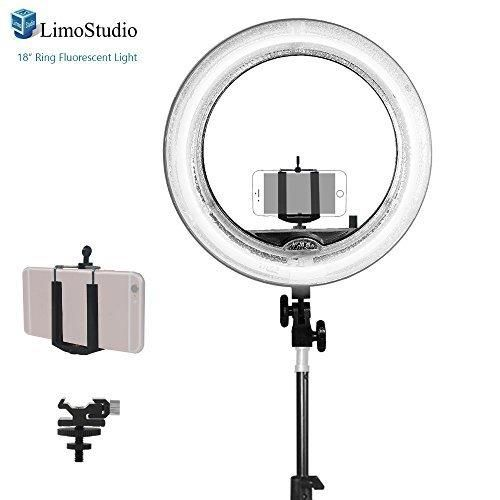 LimoStudio 18 inch Fluorescent Ring Light 5500K Dimmable with Cell Phone Holder Clamp Clip Flash Bracket Shoe Mount Adapter Camera Photo Studio AGG2039V3