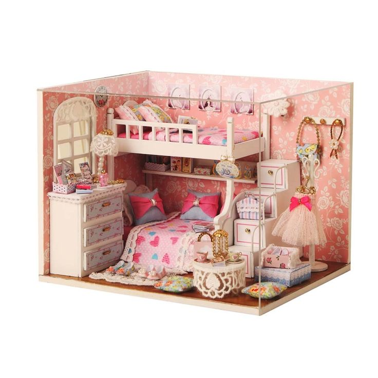 Wooden <b>Dollhouse Miniature with</b> LED Light | KIDS | Dolls ...