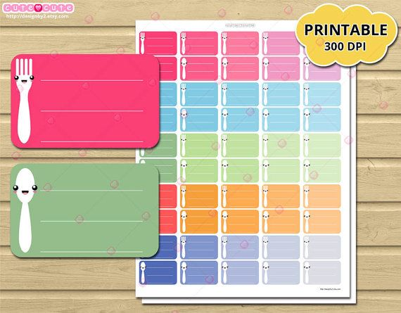 Kawaii meal plan Half box printable planner stickers for Erin condren. Planner and organizer, planner stickers print and cut